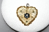 **MBA #87-322  Vintage Gold Plated Heart Pendant With Blue & Clear Rhinestones