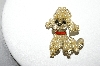 +MBA #87-291   Vintage Goldtone Faux Pearl Poodle Pin