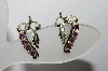 *MBA #90-147  Vintage Silvertone Purple Rhinestone Screw Back Earrings
