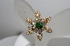 +MBA #90  Vintage Gold Plated Green & Crystal Rhinestone Pin