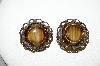 +MBA #87-323   Made In West Germany Brown Glass Clip On Earrings