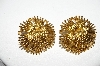 +MBA #88-097  Vintage Fancy Gold Plated Pierced Earrings