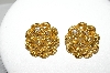 **MBA #88-488   Monet  Weave Look Gold Tone Pierced Earrings