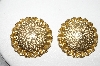 +MBA #88-205  Vintage Gold Tone Round Clip On Earrings