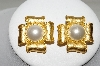 Large Beautiful Gold Plated Faux Pearl Clip On Earrings