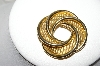 +MBA #88-133  Vintage Large Gold Tone Mesh & Swirl Look Brooch
