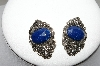 +MBA #88-110   Vintage Silver Tone Blue Center Stone Pierced Earrings