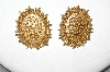 +MBA #88-109  Vintage Gold Tone Fancy Rose Pierced Earrings