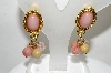 +MBA #88-165   Vintage Gold Tone Pink Stone & Bead Dangle Earrings