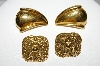 **MBA #88-013   2 Pairs Gold Tone Vintage Pierced Earrings