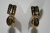 "+MBA #88-306  ""Large Gold Toned Hinged Clip Style Earrings"