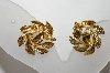 **MBA #88-054  Napier Gold Tone Leaf Style Screw Back Earrings