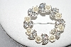 +MBA #88-229   Vintage Faux Pearl & AB Rhinestone Wreath Style Pin