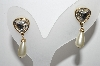 "MBA #89-090  "" ""Swan Stamped"" Gold Tone, Clear Crystal & Faux Pearl Drop Earrings"