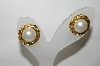 "+MBA #88-136  ""Gold Tone Round Faux Pearl Pierced Earrings"