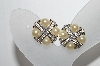 **MBA #88-193   Vintage Silver Tone Faux Pearl & Clear Crystal Rhinestone Clip On Earrings