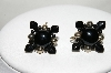 **MBA #88-053  Vintage Made In Japan Black Glass & Silver Bead Screw Back Earrings