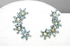 **MBA #89-015   Vintage Blue Enamel Flower & Clear Crystal Silver Tone Screw Back Earrings