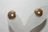 +MBA #88-166  Vintage Gold Tone Coffee Colored Faux Pearl Clip On Earrings