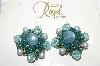 **MBA #88-241   Royal  Blue Glass, Faux Pearl & Seed Bead Clip On Earrings