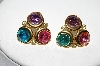 **MBA #88-006   Tafari Gold Tone Multi Colored Crystal Rhinestone Pierced Earrings