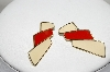 Trifari Gold Tone Red & White Enameled Pierced Earrings