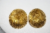 +MBA #88-002   Vintage Gold Tone Round Rope Look Pierced Earrings
