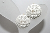 **  Monet  Fancy White Enameled Clip On Earrings