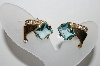 **MBA #88-025  Vintage Gold Tone Blue Glass & Crystal Rhinestone Clip On Earrings