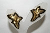 +MBA #88-170   Vintage Gold Tone Fancy Black Enameled Pierced Earrings