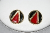**MBA #88-011  Napier Gold Tone Red & Black Enamel Pierced Earrings