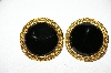 +MBA #88-187   Gold Tone Black Stone Pierced Earrings