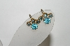 **MBA #88-114   Coro Small Gold Tone Blue Rhinestone Screw Back Earrings