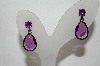 +MBA #89-079   Antiqued Metal Purple Glass Pierced Earrings
