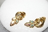 **MBA #89-094  Avon Gold Tone AB Crystal Rhinestone Pierced Earrings
