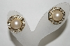**MBA #89-054   Gold Tone Faux Pearl & Clear Crystal Rhinestone Pierced Earrings
