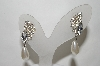 Silver Tone Crystal Rhinestone & Faux Pearl Drop Pierced Earrings