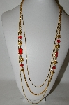 **MBA #88-348   Gold Tone Three Chain & Red Stone & Bead Necklace