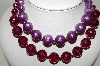 **MBA #88-047   Vintage Two Row Purple Plastic Bead Necklace