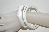 **Set Of 3 Lucite White Bangle Bracelets