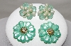 **MBA #88-087  2 Pairs Of Vintage Shades Of Green Acrylic Earrings