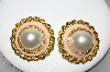 +MBA #88-140   Vintage Gold Tone Pink Enameled Faux Pearl Pierced Earrings