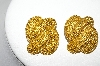 +MBA #88-030   Fancy  Weave Look Gold Plated Clip On Earrings