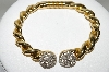 **MBA #88-334   Gold Plated Crystal Rhinestone Bangle Bracelet