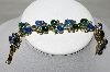 **MBA #88-062   Gold Plated Green & Blue Glass Cabachon & Rhinestone Bracelet
