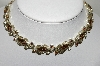 **MBA #88-056  Lisner  Silver Tone Brown & AB Crystal Rhinestone Necklace