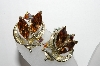 **MBA #88-058   Lisner Silver Tone Brown & AB Crystal Rhinestone Clip On Earrings