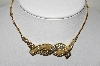 **MBA #88-331  Coro Gold Tone Clear Crystal Rhinestone  & Faux Pearl Necklace