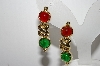 +MBA #88-204   Goldtone Green & Red Glass Cabochon Dangle Clip On Earrings