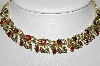 **MBA #88-192   Coro Silver Tone Red AB Crystal Rhinestone Necklace